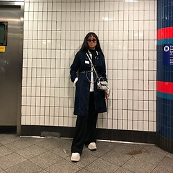 Diane Landers - Schuh Platform, Daniel Hechter Stripe Straight Trousers, Gap Black Turtleneck, Gap White Shirt, Urban Outfitters Silver Bag, Festival Shop Retro Sunglasses - London