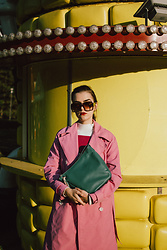 Andreea Birsan - Oversized Sunglasses, Pink Trench Coat, Striped Turtleneck Sweater, Hobo Bag - Pink trench coat