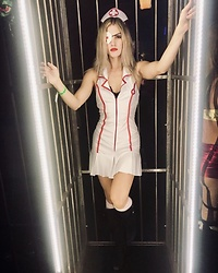 Caitlyn Sway - Naughty Nurse Halloween Costume, Eye Patch - A Very Dolls Kill Halloween as Elle Driver