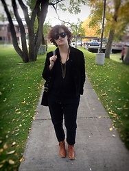 LogicFree - Zerouv Sunglasses, Ann Taylor Suede Jacket, Logicfreedesign Necklace, Coach Bag, Forever 21 Men's Joggers, Mia Boots - Black on black