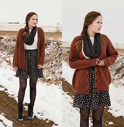 Emily S. - Forever 21 Rose Cardigan, Vintage Ditsy Skirt, The Frye Company Ankle Boots, Urban Outfitters Boyfriend Tee, Forever 21 Scarf - Snow & Roses