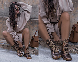 Kristina - Nasty Gal Sweater Coordi Set, Versace Medusa Coin Necklace, Camelia Roma Toffee Handbag, Mobs Design Bronze Laceup Boots - Deep beige and bronze the new grey?