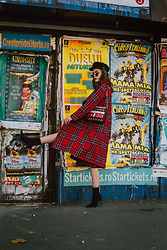Andreea Birsan - Red Tartan Coat, Striped Shoulder Bag With Eyelets, Baker Boy Hat, Small Oval Sunglasses, Sock Boots - Tartan coat