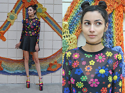 Ami Amour - Delias Floral Mesh Long Sleeve Shirt, Forever 21 Black Leather Skater Skirt, Current Mood Rainbow Platform Heels - Somewhere Over the Rainbow