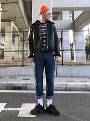 ★masaki★ - H&M Premium Leather, Gap 90's Item, H&M Jeans, Nike Air Monarch - 90's style