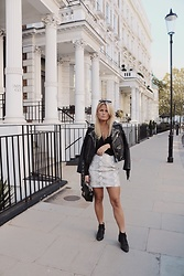 Emmy Nikolausson - River Island Skirt, Zara Leather Jacket, River Island Boots, Ur&Penn Bag - BY THE STREETS IN SOUTH KENSINGTON ~
