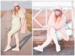 Andrea Kalocsai - Ownmade Dress, Zara Shoes, Calzedonia Tights, Zara Coat, H&M Hat - Pastel & Mint