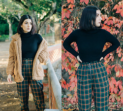 Adriana R. - Shein Black Turtleneck Sweater, Shein Green Plaid Pants W/ Zip, Shein Faux Fur Teddy Jacket - Green Plaid Pants, Black Turtleneck + Fuzzy Bear Coat