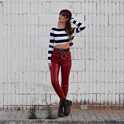 TurnToBlack Eira - Zaful Top, Bershka Animal Print Pants, Zaful Belt, Dr. Martens (Jadon) - RED SNAKE