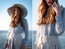 Aleksandra B. - Black And White Straw Hat, Vintage Blue Shirt With Puffy Sleeves, Vintage Beige Midi Skirt - 5 am, seaside