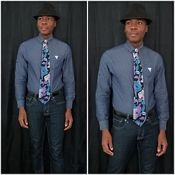 Thomas G - Faded Glory Fedora, Smash Button Down, Bugle Boy Floral, Levi's 511 Strauss & Co 'Skinny' - Fedora + Tie + Jeans