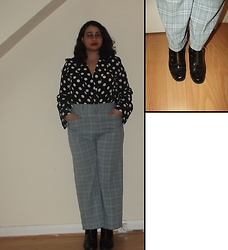 Selina - Ebay Polka Dot Bodysuit, Vintage Sale Checked Trousers - Two hearts born to run