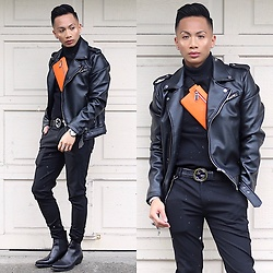 Paul Zedrich - Zara Leather Biker Jacket, Topman Turtleneck, Zara Belt Bag, Gucci Belt, Zara Super Skinny Pants, Zara Black Leather Boots, Christian Paul Marble Watch - Dressing is a way of life 🧡🖤