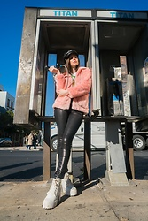 Sami Mauskopf - Brixton Fiddler Faux Leather Fisherman Hat, Poppy Lovers Fashion Pink Faux Fur Coat, J Brand Maria High Rise Super Skinny In Galactic Black, Topshop White Lace Up Combat Boots - Pink Faux Fur