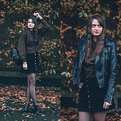 Audrey - Stradivarius Sweater, Stradivarius Skirt, Forever 21 Boots, Pimkie Jacket - Fall outfit