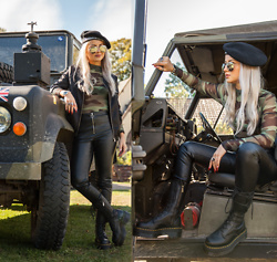 Julia Loewenherz - Coolcat Camo Body, H&M Ring Leather Pants, Dr. Martens Jagger Boots - Causality
