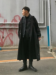 ★masaki★ - Ssnmrkrn Artisanal Military Coat, Neuw Denim Jacket, Dr. Martens Limited Boots - ALL BLACK EVERYTHING