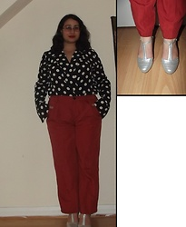 Selina - Ebay Polka Dot Bodysuit, Pull & Bear Orange Trousers, Amazon Silver Heels - Subtitle my dreams