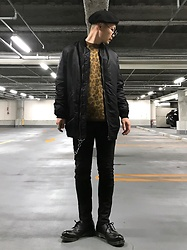 ★masaki★ - Newyorkhat Beret, R13 Denim Longfit Bomber, H&M Knit, Neuw Denim Skinnyjeans, Dr. Martens Made In England - Black + Animal