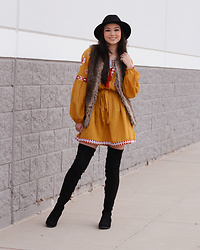 Raspberry Jam - Boohoo Mustard Embroidered Dress, H&M Round Earrings, Bershka Faux Fur Vest, Lilly&Poppy Hat, Urbanog Over The Knee Boots - Mustard Embroidered Dress