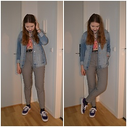 Mucha Lucha - H&M Denim Jacket, Second Hand Shirt, Monki Trousers, Vans Sneakers - Checkered