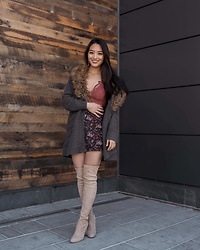 Kimberly Kong - Aid Through Trade Drop Earrings, Stuart Weitzman Over The Knee Boots, Free People Lace Bralette - Remixing My Go-To Lace Bralette