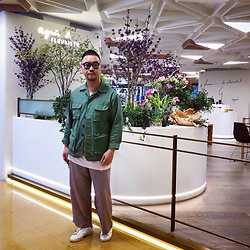 Mannix Lo - Midwest Military Jacket, Cotton On Tee, Zara Checked Wide Pants, Adidas Stan Smith Sneakers - Choose your happiness over everything