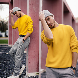I N F A S H I O N I T Y a style story - Cos Yellow Cotton Sweater, Cos Light Grey Wool Trousers, H&M Light Grey Beanie, Piaget Possession Bracelet - YELLOW