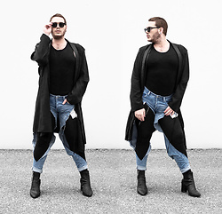 Wyatt Morgan - Komono Sunglasses, Asos Black Coat, H&M Diy Ripped Jeans, Syro Black Heels - 25 11