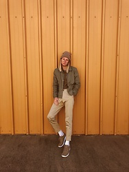 Dustin Faires - Vans Burlap Sneakers, Zara Beige Pants, H&M Long Line Olive Sweater, Forever 21 Olive Windbreaker, Target Oatmeal Beanie - F A L L I N