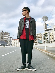 ★masaki★ - Ch. Leather Jacket, Penny's Vintage Shirts, Ssnmrkrn Artisanal Longsleeve, Ch. Cropped Trousers, Converse Prime Leather - Cloudy