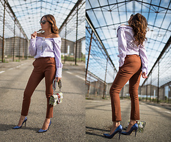"ManueLita - Unconventional Secrets Off Shoulders Shirt, Stradivarius Pants, Pinko Bag, Federica Stella Pumps - Una camicia molto ""unconventional"""