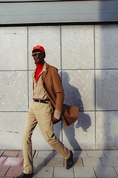 Jon The Gold - Uniqlo Camel Coat, Mango Silk Shirt, Dickies Beige Chino, Calvin Klein Ck Eyewear - Mixing Neutrals