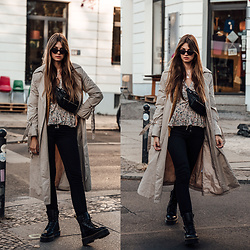 Jacky - Jake*S Trench Coat, Verge Girl Top, Bershka Belt Bag, Gina Tricot Jeans, Dr. Martens Boots - Autumn Essentials: Platform Boots and Trench Coat