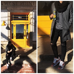 Emmanuel Martz - Nike Air Span Ii, Express Charcoal Coat, Topman Ripped Jeans, H&M Striped Sweatshirt - Yellow is the new Orange