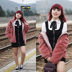 Carina Gonçalves - Zaful Coat, Pull & Bear Blouse, Pull & Bear Dress, Vans Sneakers - Fatal, this attraction, We might just end up crashin'