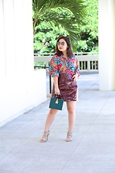 Kristen Tanabe - Vintage Floral Blouse, Wild Fable Burgundy Patent Leather Skirt, Topshop Faux Snakeskin Sandals, Forever 21 Faux Croc Box Clutch, Balmain Sunglasses - A Little Vintage, a Little Modern