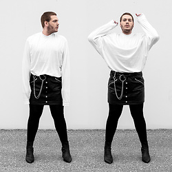 Wyatt Morgan - Asos Oversized Sweater, Asos Fake Leather Skirt, Monki Belt Chain, Syro Leather Boots - 27 11