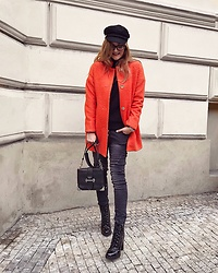 Jane Bond - Prada Bag, Tezyo Boots, Jane Bond Special Coat, Pull & Bear Cap - Colorblocked