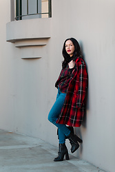 Lisa Valerie Morgan - Mott & Bow Jeans, Top, Bag - Plaid on Plaid