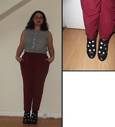 Selina - Altered Gingham Top, New Look Burgundy Trousers, Lola Ramona Heeled Boots - We live in a time when meaning splinters our lives