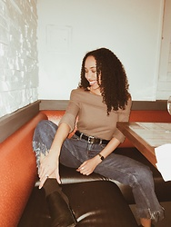 Selah K - Call It Spring Black Bootie, Na Kd Mom Jeans, Banana Republic Off The Shoulder Blouse, Casio Gold Plated Watch, Aldo Black Belt - December
