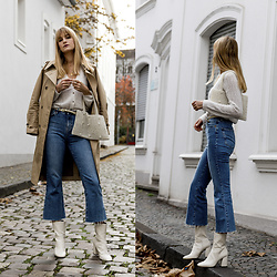 Catherine V. - Pimkie Cardigan, Mango Pearl Bag, Topshop Jeans, H&M White Boots - HOW TO WEAR A CARDIGAN AS A TOP