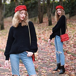 Alba Granda - H&M Red Baker Boy, H&M Black Sweater, Mango Red Bag, Zara Ripped Jeans, Stradivarius Ankle Boots - Red Details