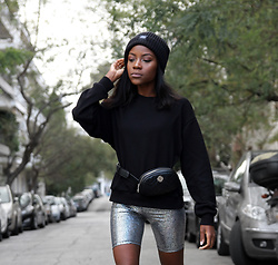 Rachel O. - Cheap Monday Beanie, Cheap Monday Organic Cotton Sweatshirt, Sunsetgo Mermaid Print Biker Shorts, Migato Belt Bag - How To Wear Biker Shorts Like An Influencer