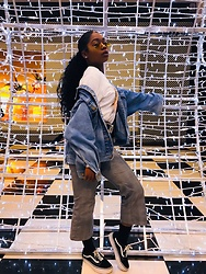 Sierra - Eddie Bauer Oversized Denim Jacket, Zaful Trousers, Vans Shoes, Forever 21 Graphic Long Sleeve - Waka waka