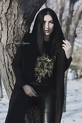 Ellone Andreea - H&M Faux Leather Pants, Saros Collective Alpha Omega T Shirt, H&M Hooded Cardigan - I am alpha / I am omega