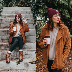 Mackenzie S - Teddy Coat, H&M Wool Knit Sweater, Zenni Optical Gold Aviator Frames, Old Navy High Rise Leggings, Clarks Mojita Sorbet Boot, Carhartt Maroon Beanie, Splendor And Stone Crystal Necklace - Comfy, Cozy, and Cool