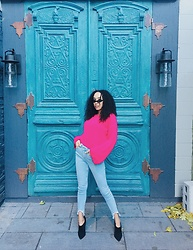 Selah K - Na Kd Bell Sleeve Knit Sweater, Na Kd High Waisted Denim, Nine West Mules - Bubble gum.
