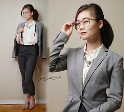 L Z - Rw & Co Blazer, Vintage Blouse, Zara Houndstooth Trousers, Marciano Heels, J. Crew Necklace - Office Gentleman